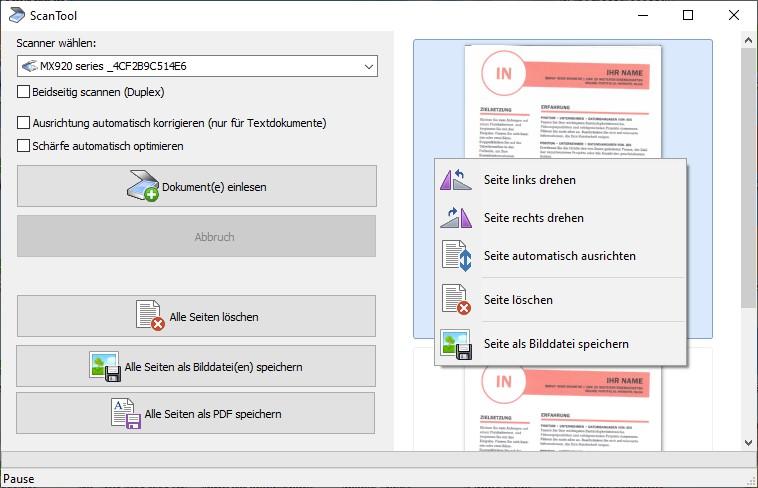 Scannen als PDF Dokument mit dem Scan Tool