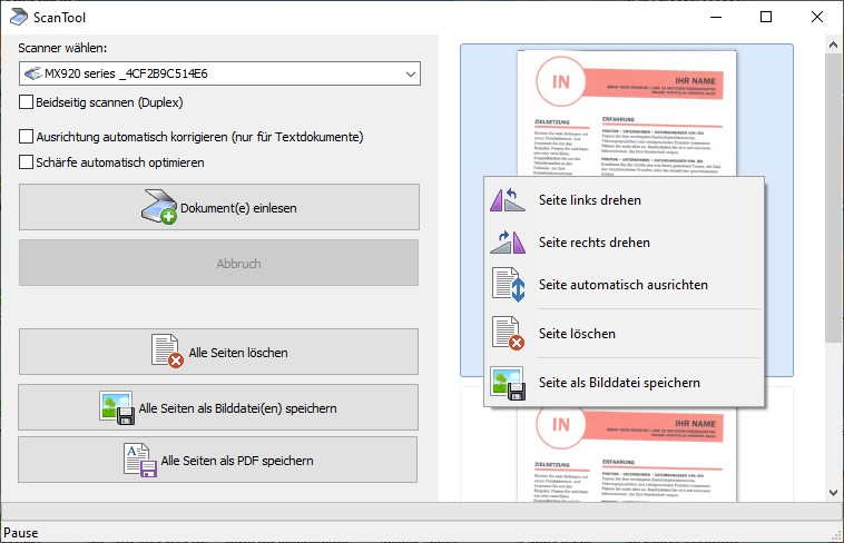PDF Dokumente vom Scanner