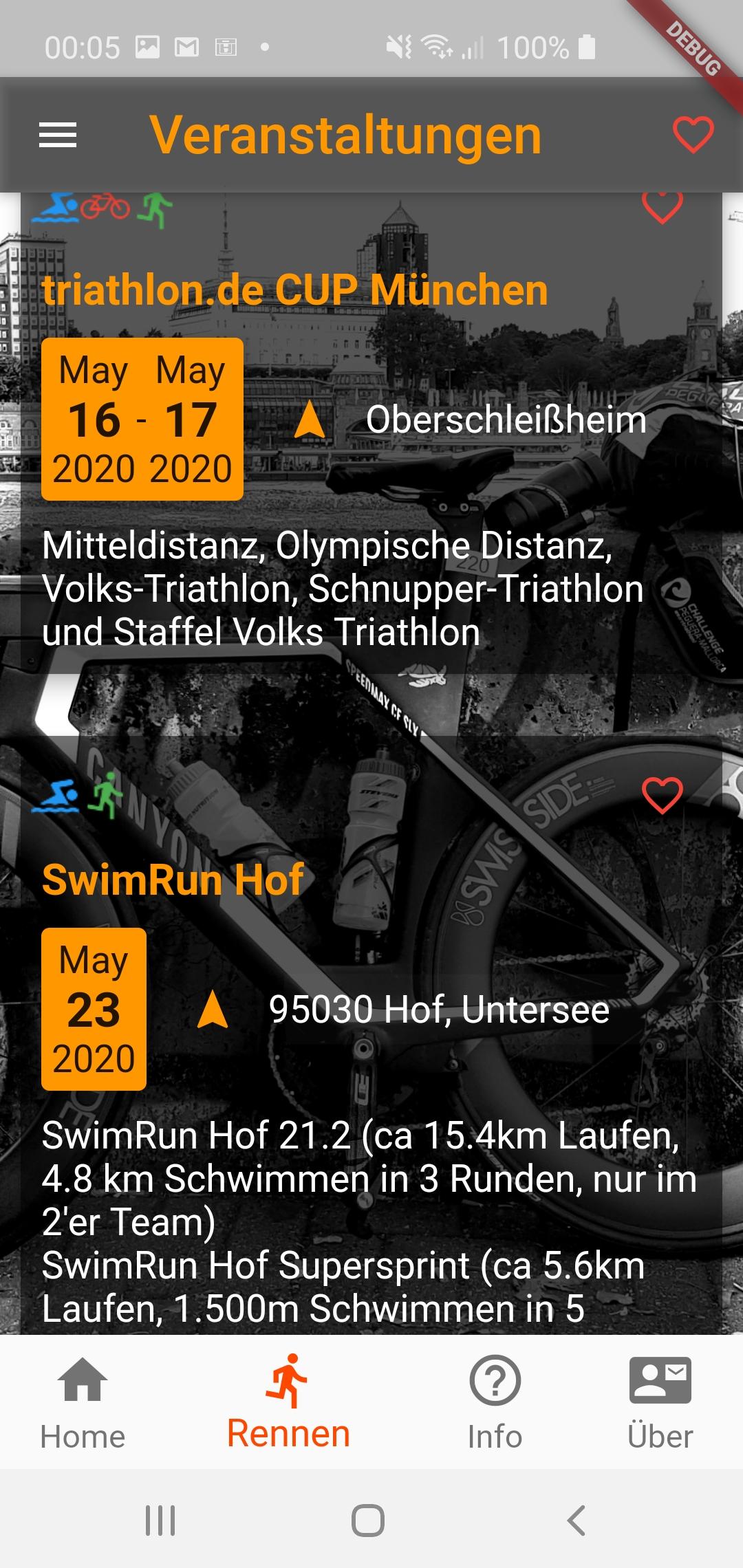 Android App - Triathlon Veranstaltungen